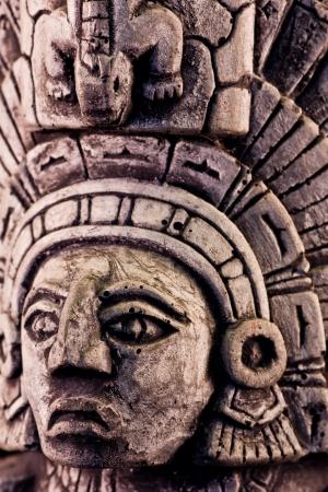 aztec calendar: little detail of a mayan sculpture