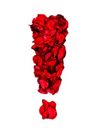 exclamation mark: exclamation sign made with flower petals