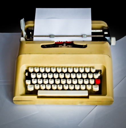 old typewriter with white pages Stock Photo - 16726428