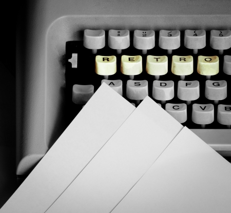 typewriter keyboard with retro word photo