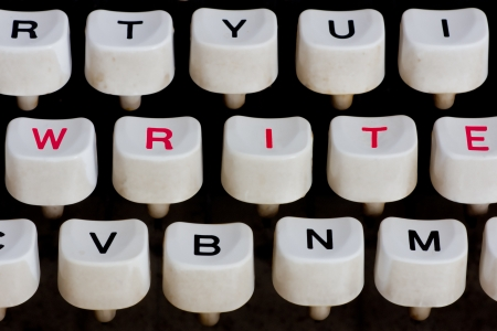 typewriter keyboard with write word photo