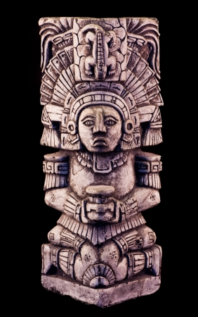 portrait of a mayan sculpture