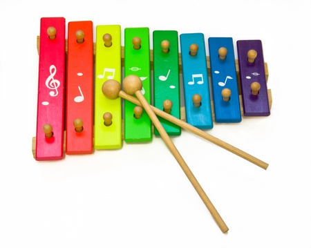 xilofono: xil�fono de juguete aislado en blanco