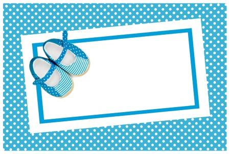home birth: blank baby shower invite with blue shoes Stock Photo