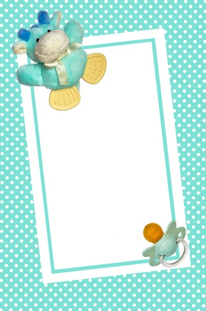 blank baby shower invite with toy and pacifier