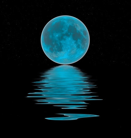 moon and stars: blue moon reflected in the water Stock Photo