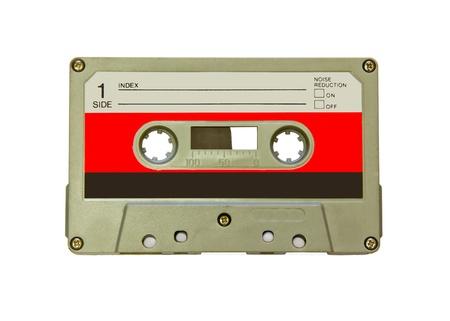 白で隔離される古い白いカセット 写真素材