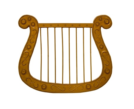 toy lyre isolated on white Stock Photo