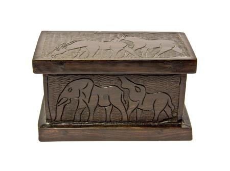 ebony wood: traditional ebony box with animal prints