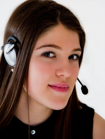 Call center operator business with brown hair photo