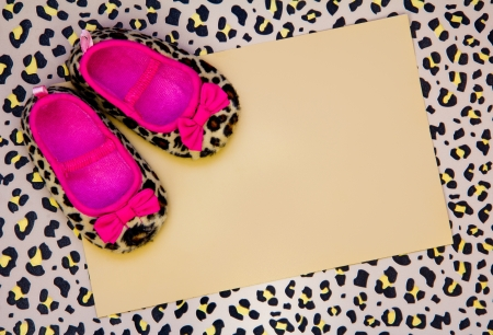 blank baby shower invite with leopard shoes and frame Stock Photo - 18166167
