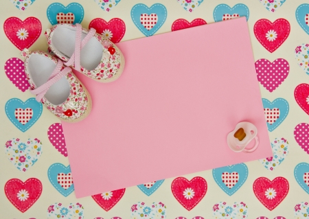 blank baby shower invite with pink shoes and pacifier Stock Photo - 18262382