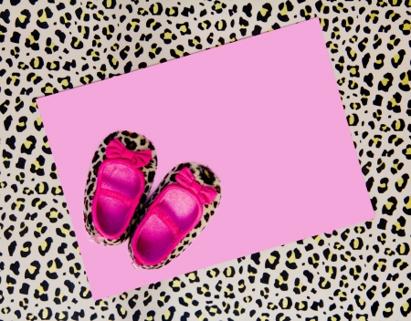 blank baby shower invite with pink shoes and leopard background Stock Photo - 18340229