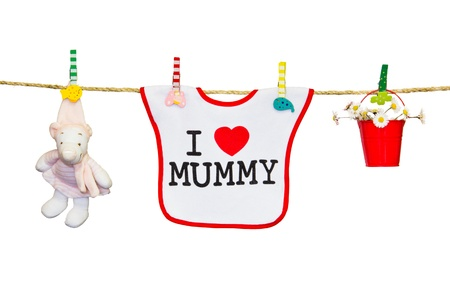 clothesline with a bib, flowers and toy Stock Photo - 18340221
