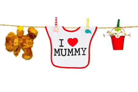 clothesline with a bib and teddy bear and flowers Stock Photo - 18340224