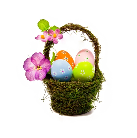 easter eggs in a nest basket photo