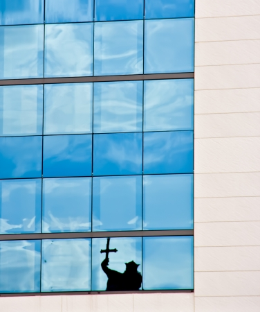 reflection in building  in a city of northern Spain photo