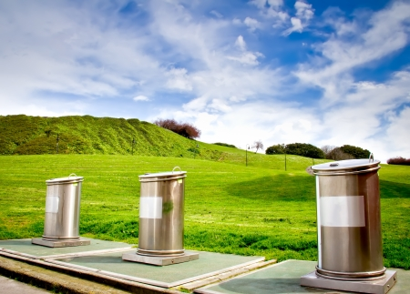 recycling containers in a park in the city of Gijon in Asturias photo