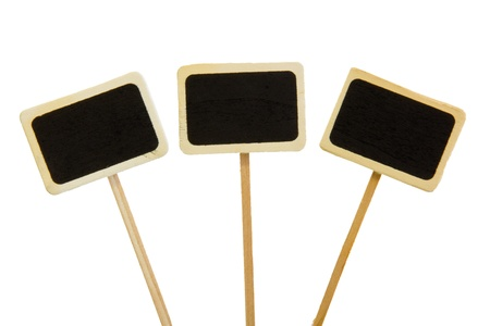 black boards: three little black boards isolated on white