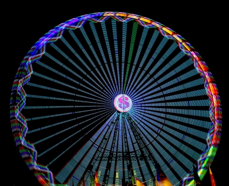 detail of a ferris wheel lights