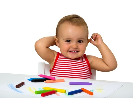 baby painting isolated on white Imagens