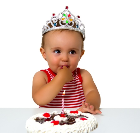 baby with birthday cake isolated on white photo