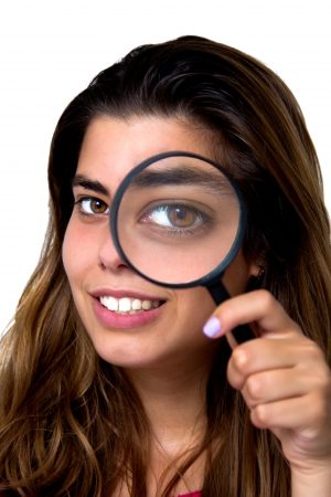 portrait of a girl with magnifier photo