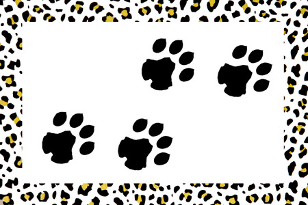 image composed with leopard footprints and leopard skin background
