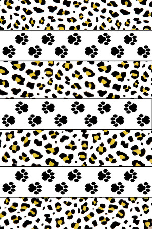 image composed with leopard footprints and leopard skin background photo