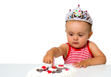 baby with birthday cake isolated on white Stock Photo - 22449583