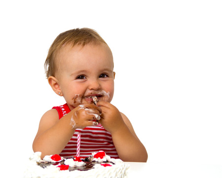 baby with birthday cake isolated on white Stock Photo - 22449584