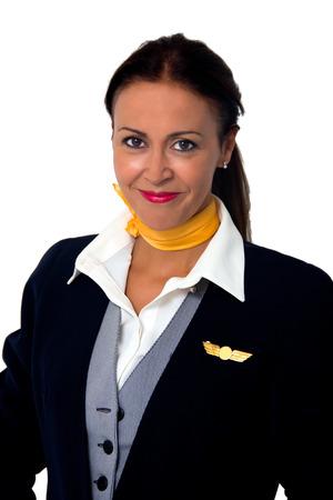stewardess lady isolated on white Stock Photo