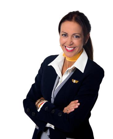 stewardess lady isolated on white 版權商用圖片