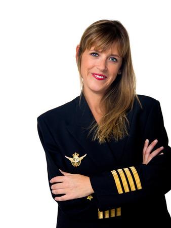 plane pilot woman isolated on white photo