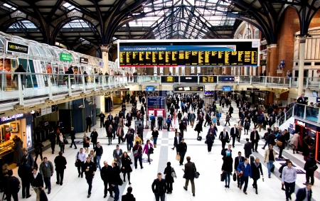 liverpool street station in London at rush hour Editorial