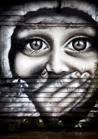 asbo: urban graffiti in a street of London