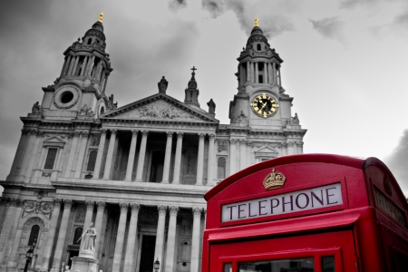 phone booth in front of St Paul's Cathedral in London photo