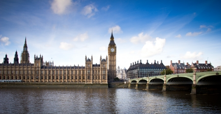 view of Big Ben and Westminster bridge Stock Photo
