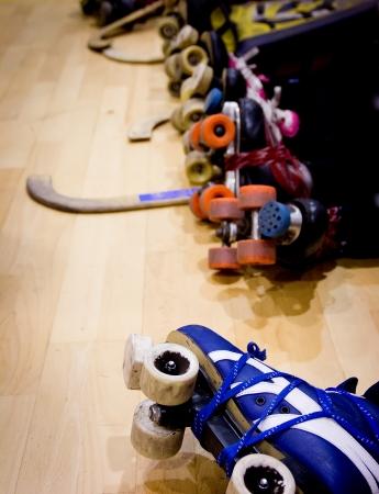 hockey stick: detail of a roller hockey match