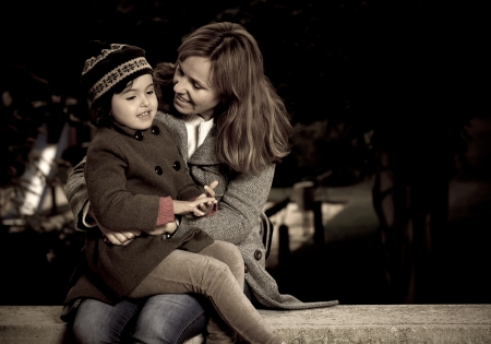sweetly: mother and daughter talking sweetly