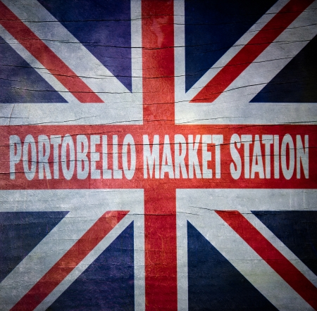 chelsea market: detail of portobello market sign Stock Photo