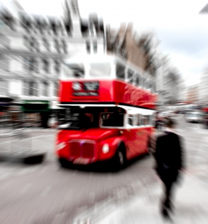 red double decker on the streets of London