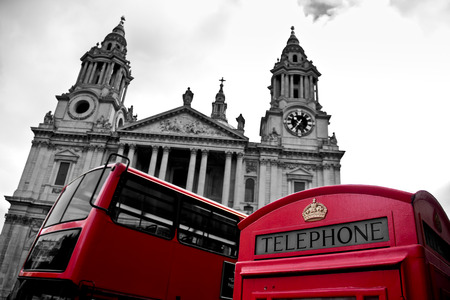 phone booth in front of St Pauls Cathedral in London