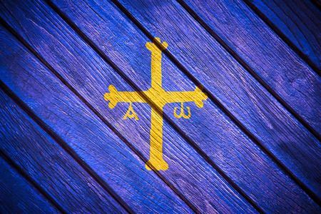 Asturias flag painted on old wood photo