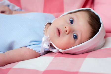 blue eyes: Portrait of a little baby girl with blue eyes
