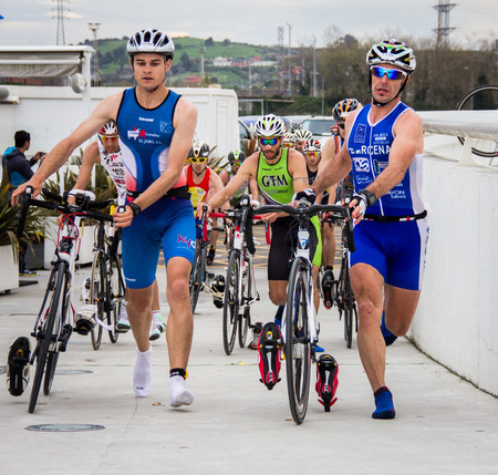 AVILES, SPAIN - APRIL May 2014: Participants in the National Duathlon Championships held in the city of Aviles, Spain, on Saturday, April 5, 2014. Editorial