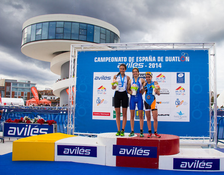 aviles: AVILES, SPAIN - APRIL May 2014: Participants in the National Duathlon Championships held in the city of Aviles, Spain, on Saturday, April 5, 2014. Editorial