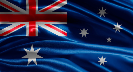 Australian flag fabric with waves Stock Photo