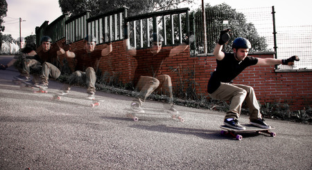 Young skater training on the table