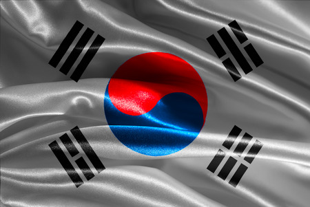 Korean flag fabric with waves photo